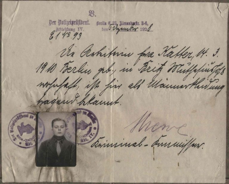 An authorization for transvestism in 1920s Berlin